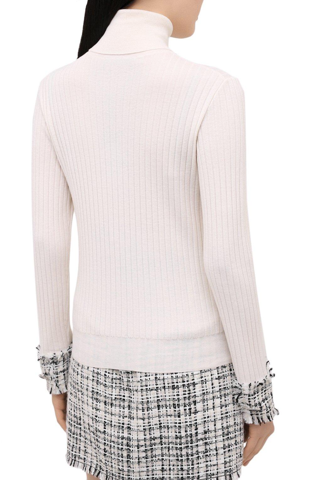 Женская шерстяная водолазка DOLCE & GABBANA белого цвета, арт. FX839T/JAM2X | Фото 4 (Женское Кросс-КТ: Водолазка-одежда; Материал внешний: Шерсть; Рукава: Длинные; Длина (для топов): Стандартные; Стили: Кэжуэл)
