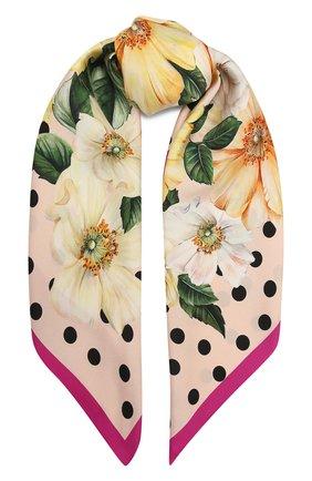 Женский шелковый платок DOLCE & GABBANA желтого цвета, арт. FN090R/GDV60 | Фото 1