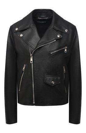 Женская кожаная куртка DOLCE & GABBANA черного цвета, арт. F9I25L/HULFY | Фото 1