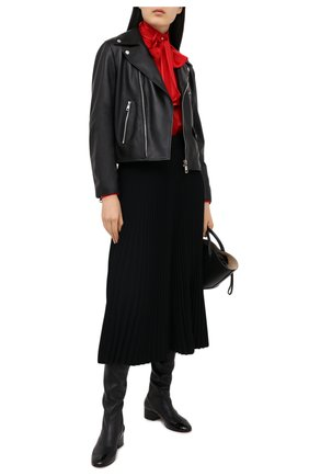 Женская кожаная куртка DOLCE & GABBANA черного цвета, арт. F9I25L/HULFY | Фото 2