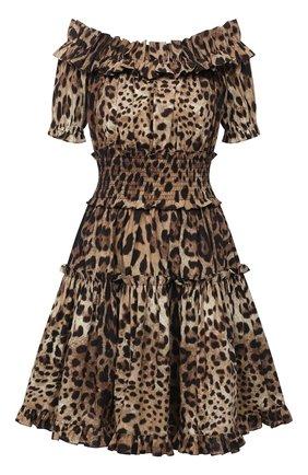 Женское хлопковое платье DOLCE & GABBANA коричневого цвета, арт. F6A0UT/HS5E3 | Фото 1