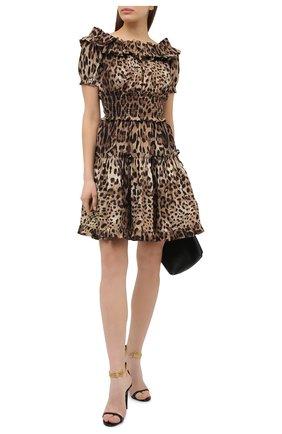 Женское хлопковое платье DOLCE & GABBANA коричневого цвета, арт. F6A0UT/HS5E3 | Фото 2