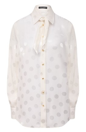 Женская шелковая блузка DOLCE & GABBANA белого цвета, арт. F5L76T/FJ1HR | Фото 1