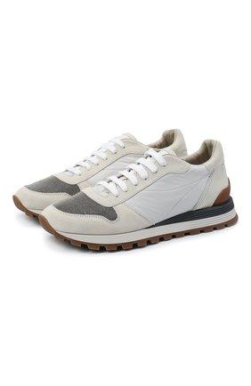Женские замшевые кроссовки BRUNELLO CUCINELLI серого цвета, арт. MZSFG1960 | Фото 1 (Материал внутренний: Текстиль; Подошва: Платформа; Материал внешний: Замша)