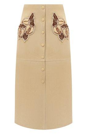 Женская кожаная юбка CHLOÉ бежевого цвета, арт. CHC20WCJ01203 | Фото 1