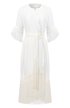 Женское туника из хлопка и шелка LILA EUGENIE белого цвета, арт. 21910 MIDI | Фото 1
