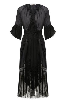 Женское туника из хлопка и шелка LILA EUGENIE черного цвета, арт. 21910 MINI | Фото 1
