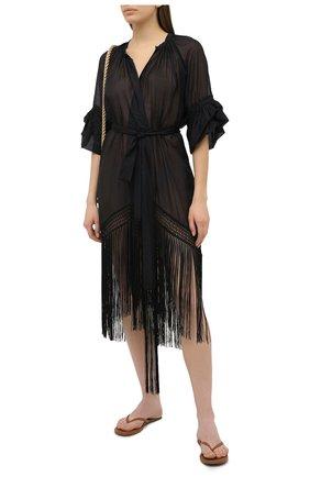 Женское туника из хлопка и шелка LILA EUGENIE черного цвета, арт. 21910 MINI | Фото 2
