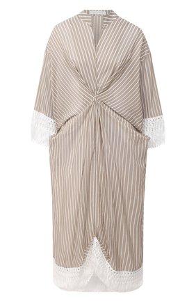 Женское хлопковое платье LILA EUGENIE бежевого цвета, арт. 21422 MIDI | Фото 1