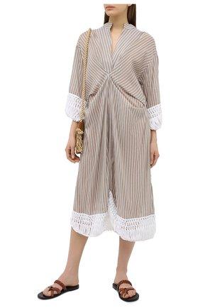 Женское хлопковое платье LILA EUGENIE бежевого цвета, арт. 21422 MIDI | Фото 2