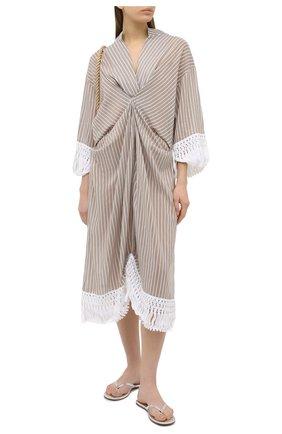 Женское хлопковое платье LILA EUGENIE бежевого цвета, арт. 21422 | Фото 2