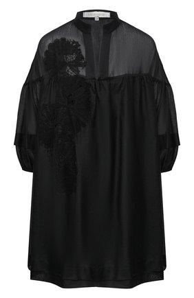 Женское туника из хлопка и шелка LILA EUGENIE черного цвета, арт. 2027 MINI | Фото 1