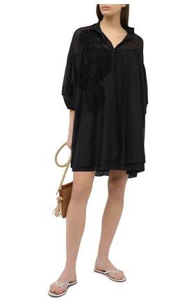 Женское туника из хлопка и шелка LILA EUGENIE черного цвета, арт. 2027 MINI | Фото 2