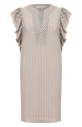 Женское платье из хлопка и шелка LILA EUGENIE бежевого цвета, арт. 20083 MINI | Фото 1
