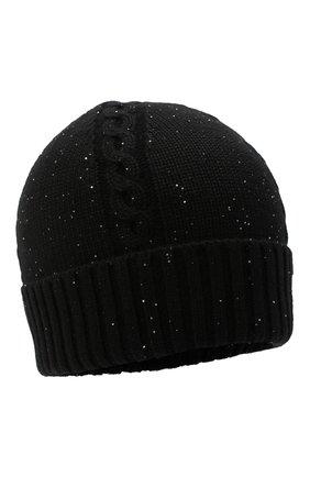 Женская кашемировая шапка LORO PIANA черного цвета, арт. FAL4396 | Фото 1
