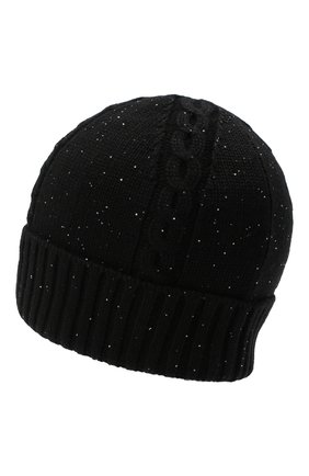 Женская кашемировая шапка LORO PIANA черного цвета, арт. FAL4396 | Фото 2