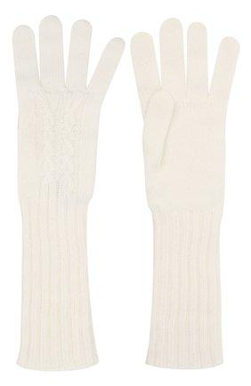 Женские кашемировые перчатки LORO PIANA белого цвета, арт. FAL4381 | Фото 2 (Материал: Кашемир, Шерсть)