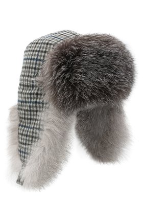 Женская кашемировая шапка LORO PIANA серого цвета, арт. FAL4370 | Фото 1 (Материал: Кашемир, Шерсть)
