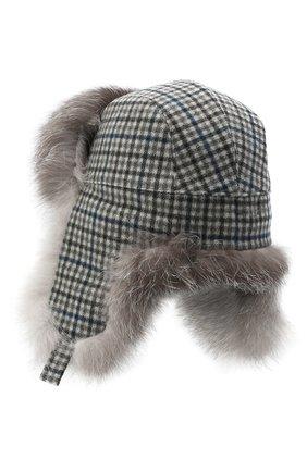 Женская кашемировая шапка LORO PIANA серого цвета, арт. FAL4370 | Фото 2 (Материал: Кашемир, Шерсть)
