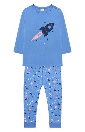 Детский хлопковая пижама SANETTA голубого цвета, арт. 221573 | Фото 1