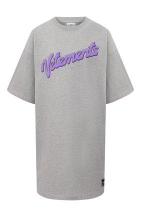 Женская хлопковая футболка VETEMENTS серого цвета, арт. UE51TR760G 1614/W | Фото 1