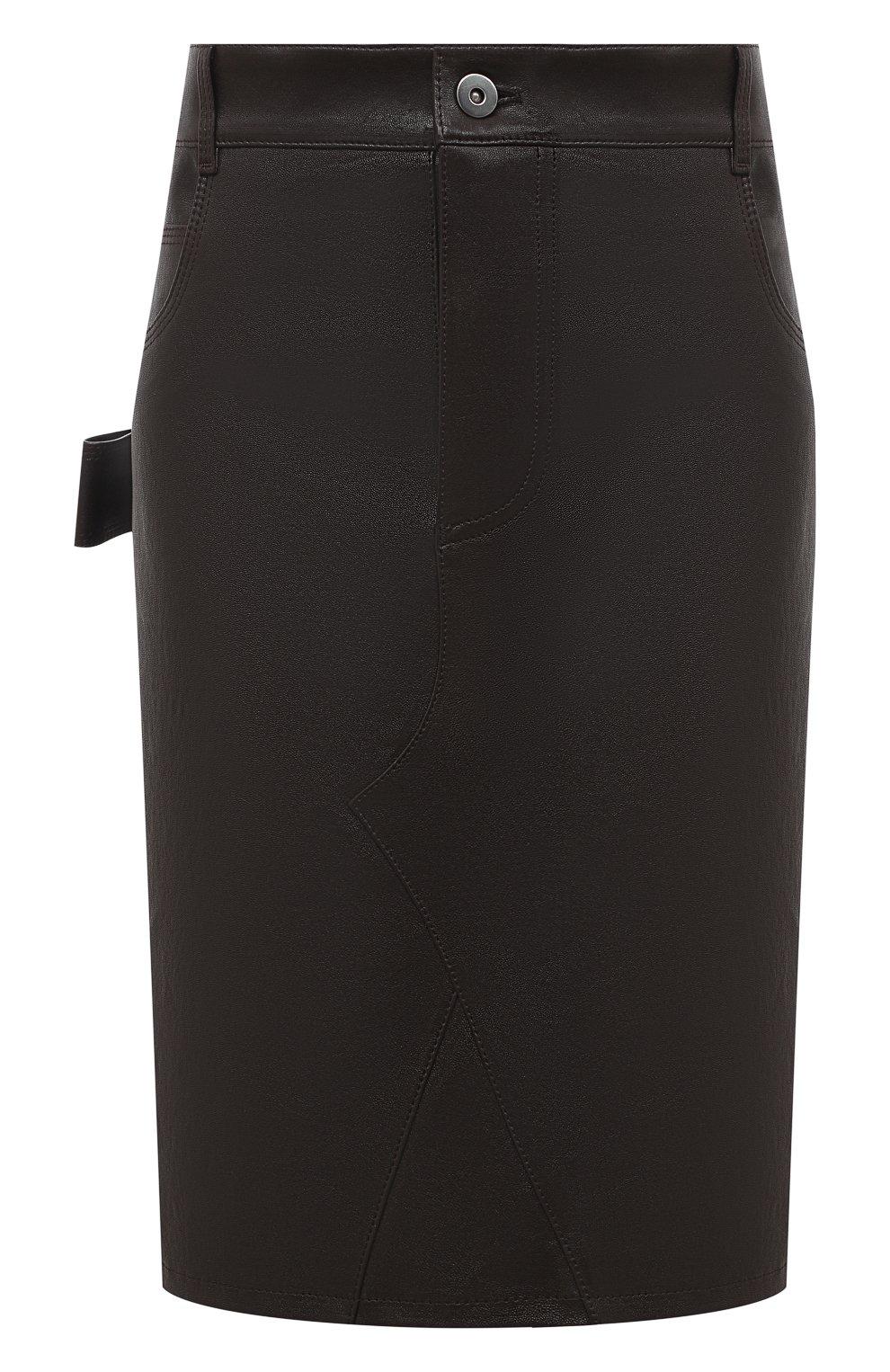 Женская кожаная юбка BOTTEGA VENETA темно-коричневого цвета, арт. 647682/V05G0   Фото 1