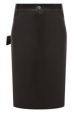 Женская кожаная юбка BOTTEGA VENETA темно-коричневого цвета, арт. 647682/V05G0 | Фото 1
