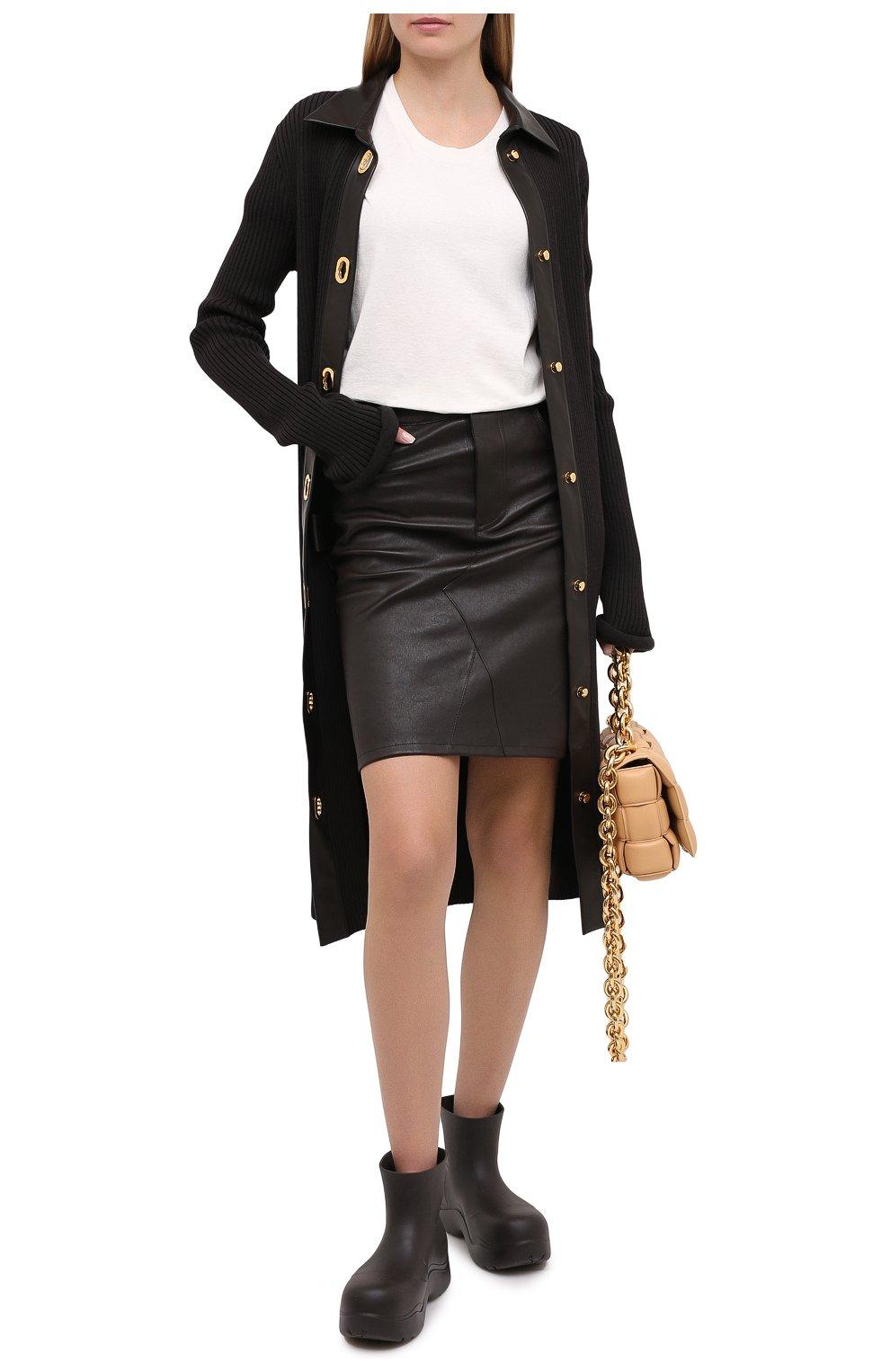 Женская кожаная юбка BOTTEGA VENETA темно-коричневого цвета, арт. 647682/V05G0   Фото 2