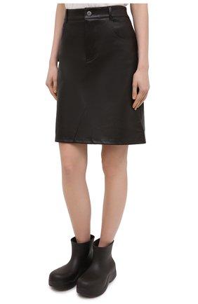 Женская кожаная юбка BOTTEGA VENETA темно-коричневого цвета, арт. 647682/V05G0   Фото 3