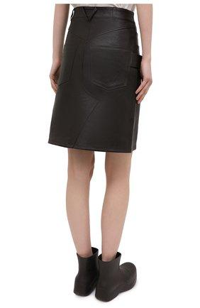 Женская кожаная юбка BOTTEGA VENETA темно-коричневого цвета, арт. 647682/V05G0   Фото 4