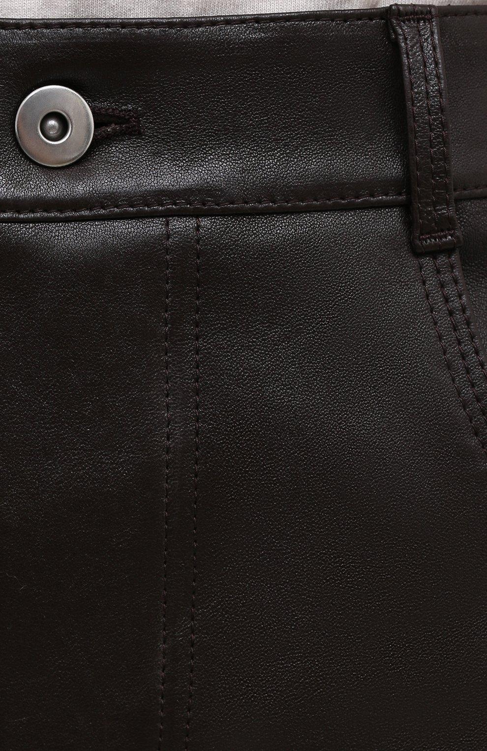 Женская кожаная юбка BOTTEGA VENETA темно-коричневого цвета, арт. 647682/V05G0   Фото 5