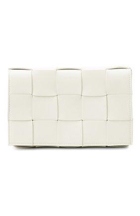 Женская сумка cassette BOTTEGA VENETA белого цвета, арт. 578004/VMAY1   Фото 1 (Сумки-технические: Сумки через плечо; Материал: Натуральная кожа; Ремень/цепочка: На ремешке; Размер: small)