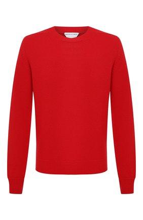 Мужской шерстяной свитер BOTTEGA VENETA красного цвета, арт. 648380/V0AM0 | Фото 1 (Мужское Кросс-КТ: Свитер-одежда; Длина (для топов): Стандартные; Рукава: Длинные; Принт: Без принта; Материал внешний: Шерсть; Стили: Минимализм)