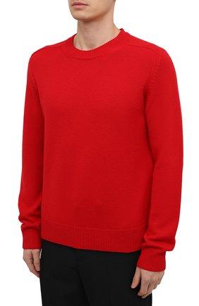 Мужской шерстяной свитер BOTTEGA VENETA красного цвета, арт. 648380/V0AM0   Фото 3 (Материал внешний: Шерсть; Рукава: Длинные; Принт: Без принта; Длина (для топов): Стандартные; Мужское Кросс-КТ: Свитер-одежда; Стили: Минимализм)