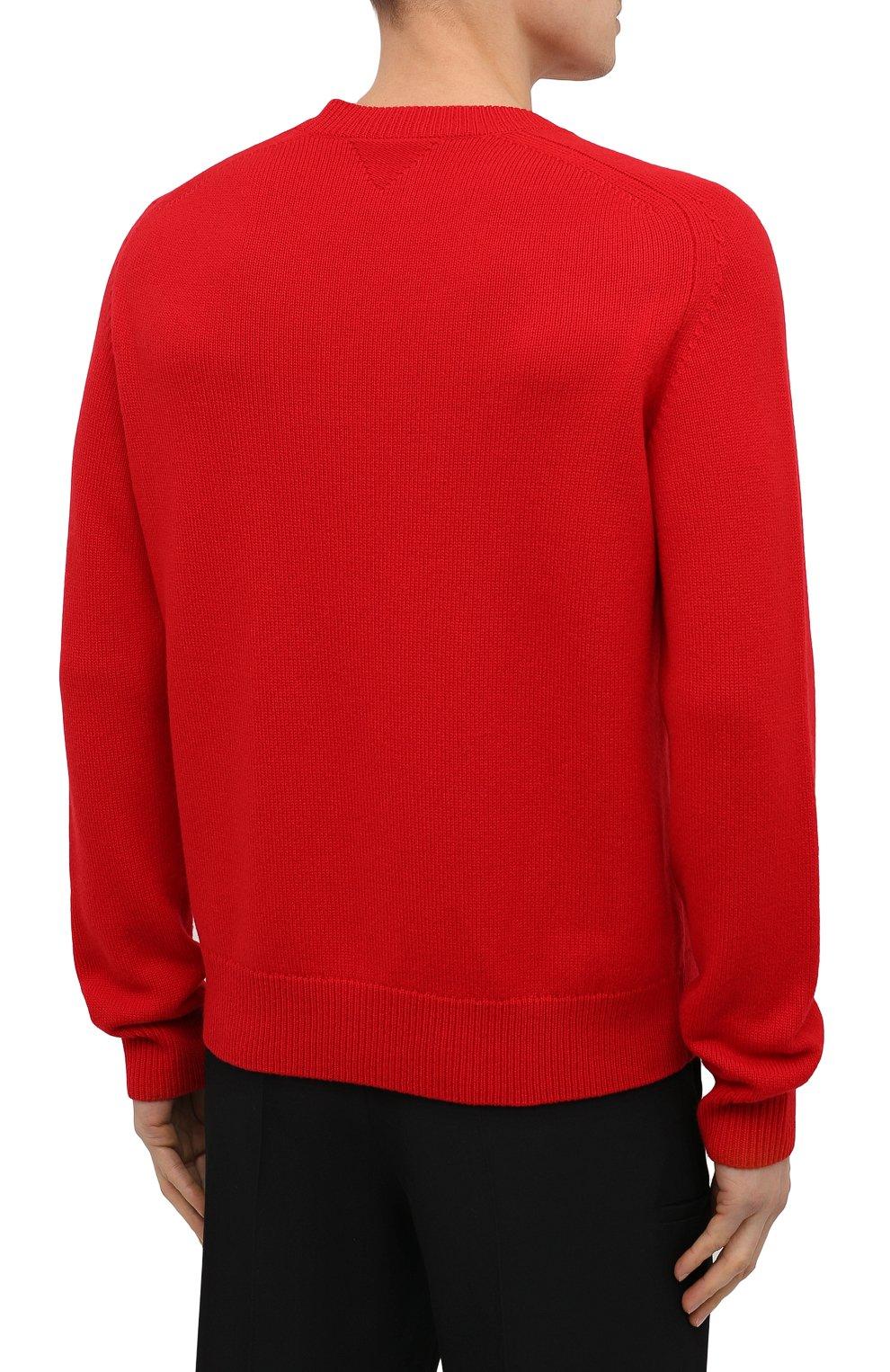 Мужской шерстяной свитер BOTTEGA VENETA красного цвета, арт. 648380/V0AM0   Фото 4 (Материал внешний: Шерсть; Рукава: Длинные; Принт: Без принта; Длина (для топов): Стандартные; Мужское Кросс-КТ: Свитер-одежда; Стили: Минимализм)