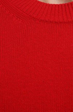 Мужской шерстяной свитер BOTTEGA VENETA красного цвета, арт. 648380/V0AM0   Фото 5 (Материал внешний: Шерсть; Рукава: Длинные; Принт: Без принта; Длина (для топов): Стандартные; Мужское Кросс-КТ: Свитер-одежда; Стили: Минимализм)