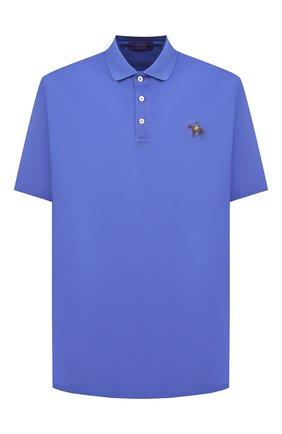 Мужское хлопковое поло RALPH LAUREN синего цвета, арт. 790508036   Фото 1 (Длина (для топов): Стандартные; Материал внешний: Хлопок; Застежка: Пуговицы; Стили: Кэжуэл; Рукава: Короткие)