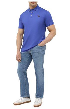 Мужское хлопковое поло RALPH LAUREN синего цвета, арт. 790508036   Фото 2 (Длина (для топов): Стандартные; Материал внешний: Хлопок; Застежка: Пуговицы; Стили: Кэжуэл; Рукава: Короткие)