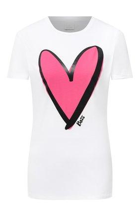 Женская хлопковая футболка BOSS белого цвета, арт. 50442503 | Фото 1