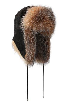 Женская шапка из меха норки и лисы KUSSENKOVV разноцветного цвета, арт. 92805649094 | Фото 1