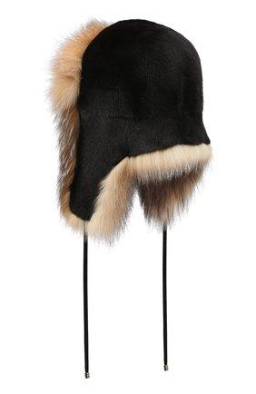 Женская шапка из меха норки и лисы KUSSENKOVV разноцветного цвета, арт. 92805649094 | Фото 2