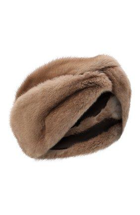 Женская повязка из меха норки KUSSENKOVV коричневого цвета, арт. 161900033019   Фото 1 (Материал: Натуральный мех; Женское Кросс-КТ: Шапка-тюрбан)