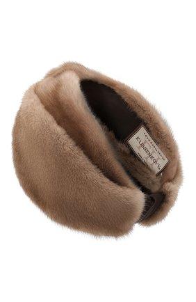 Женская повязка из меха норки KUSSENKOVV коричневого цвета, арт. 161900033019   Фото 2 (Материал: Натуральный мех; Женское Кросс-КТ: Шапка-тюрбан)