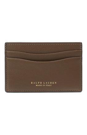 Женский кожаный футляр для кредитных карт RALPH LAUREN коричневого цвета, арт. 434791351 | Фото 1