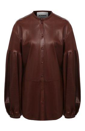 Женская кожаная рубашка JIL SANDER темно-коричневого цвета, арт. JSWR656075-WRL01011 | Фото 1