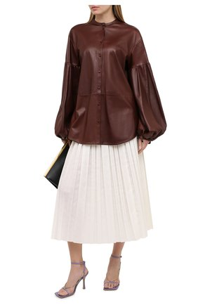 Женская кожаная рубашка JIL SANDER темно-коричневого цвета, арт. JSWR656075-WRL01011 | Фото 2