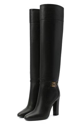 Женские кожаные сапоги DOLCE & GABBANA черного цвета, арт. CU0671/AW695   Фото 1 (Материал внутренний: Натуральная кожа; Каблук высота: Высокий; Каблук тип: Устойчивый; Подошва: Плоская; Высота голенища: Высокие)