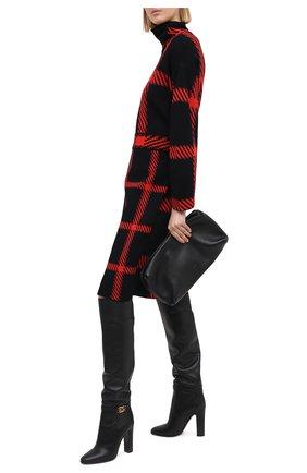 Женские кожаные сапоги DOLCE & GABBANA черного цвета, арт. CU0671/AW695   Фото 2 (Материал внутренний: Натуральная кожа; Каблук высота: Высокий; Каблук тип: Устойчивый; Подошва: Плоская; Высота голенища: Высокие)