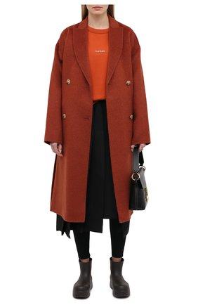 Женское шерстяное пальто ACNE STUDIOS коричневого цвета, арт. A90312 | Фото 2