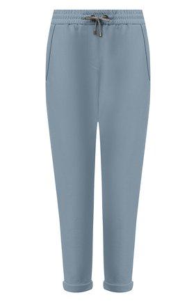 Женские хлопковые брюки BRUNELLO CUCINELLI голубого цвета, арт. MH827SA399 | Фото 1